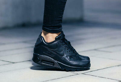Details about NIKE AIR MAX 90 GS LEATHER TRIPLE BLACK WOMEN SIZE 7(6Y) NEW W/Box