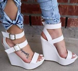 56d37d84323b Details about Women s Wedge High Heel Buckle Sandals Party Punk Peep Toe  Shoes White Plus Size