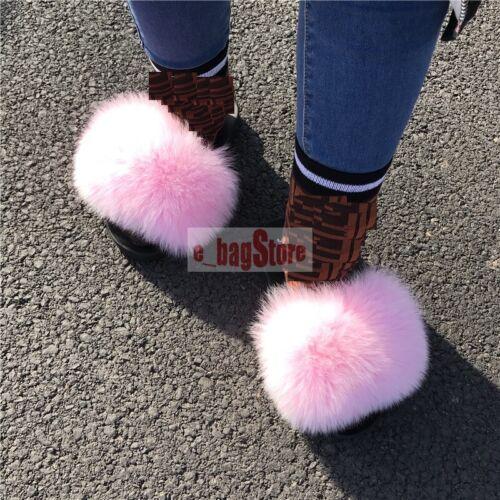 2019 Summer Fashion Femmes renard véritable//raton laveur fourrure Sandale Chaussures Plates diapositives pantoufles