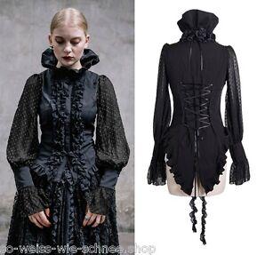 Gothic Devil Fashion Bluse Blouse Rüschen Samt Satin Shirt Tabbatha Nugoth T011