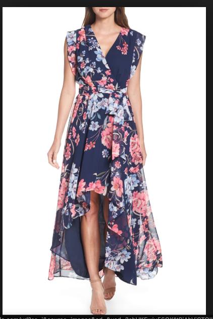 1c66fc8b595 Eliza J Floral High/Low Faux Wrap Chiffon Maxi Navy Multi Colored Dress  Size 16