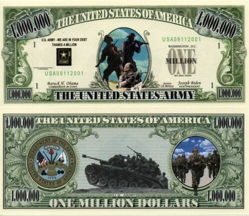 US Army Million Dollar Bill Novelty Money FREE Shipping