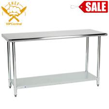 24x60in Adjustable Stainless Steel Table Work Prep Undershelf Restaurant Adjust