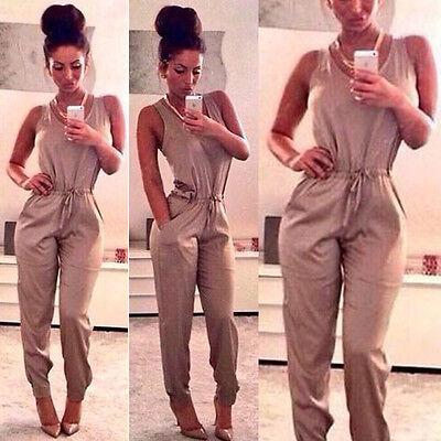 Womens Clubwear Playsuit Jumpsuit Bodycon Maxi Romper Pocket Long Trousers Dress