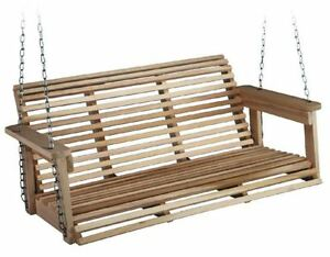Front Porch Swing Set Outdoor Rustic Wooden Bench Wood Patio Chair 4