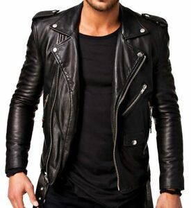 Leather Jacket Lambskin Black Biker Genuine Men Slim Fit dvz5xwq