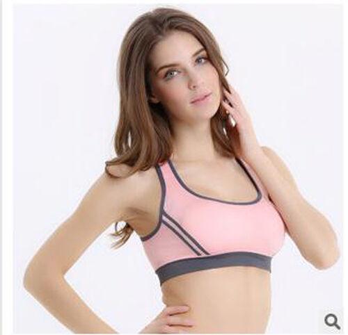 Lady Yoga Fitness Stretch Workout Tank Top Seamless Racerback Padded Sports Bra