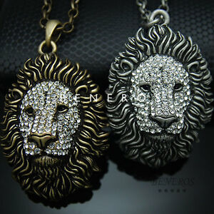 Lion head pendant chain necklace animal jewelry gold silver w image is loading lion head pendant chain necklace animal jewelry gold mozeypictures Images