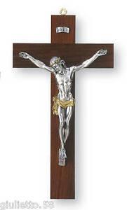 Objekte Nach 1945 Antiquitäten & Kunst Kruzifix Kreuz Holz Cm.29 H Jesus' Christus In Galvanischen 925 Silber%