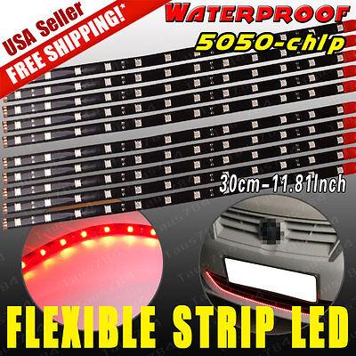 10PCS 60CM Flexible LED Light Strip Waterproof Car Motor Truck 6000K White 12V