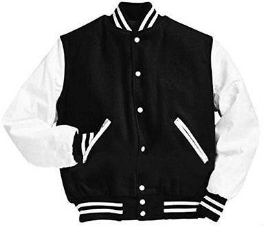 American Windhound College Jacke schwarz mit schwarzen Echtleder Ärmel XS