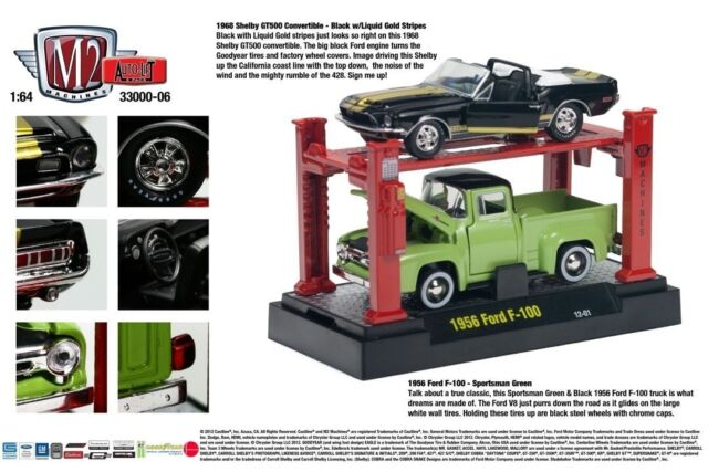 M2MACHINES 1:64 SCALE DIECAST METAL 1968 SHELBY GT500, 1956 FORD F100, AUTO LIFT
