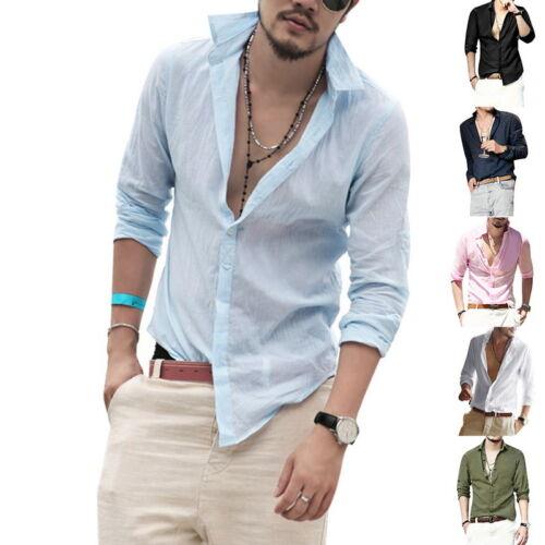 Stylish Mens Long Sleeve Casual Shirts V-Neck Slim Fit Dress Shirt Solid Tops IL
