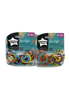 Tommee Tippee Fun Style Orthodontic Pacifiers 18-36 Months NEW Package Lot