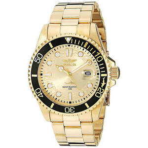 Invicta-Men-039-s-Pro-Diver-Watch-Quartz-Champagne-Dial-Gold-Tone-Bracelet-30025