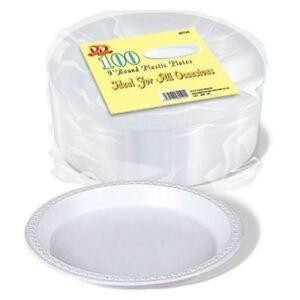 "2000 x WHITE PLASTIC PLATES ROUND 23cm 9/"" TABLEWARE PARTY BIRTHDAY DISPOSABLE"
