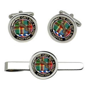Chattan-Scottish-Clan-Cufflinks-and-Tie-Clip-Set