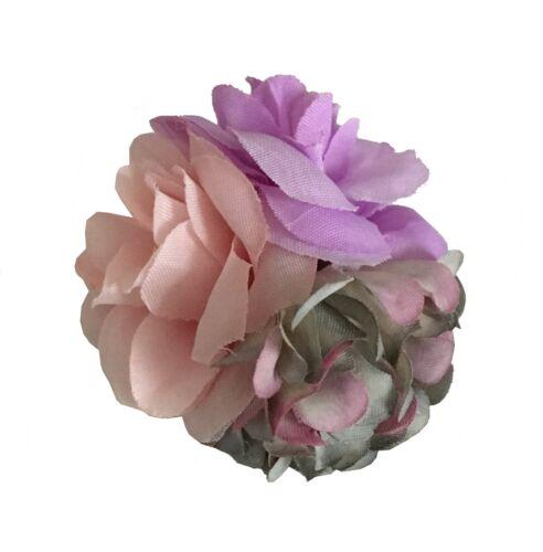 NEW Beautiful Fabric Triple Flower Hair Clip 9 Pretty Colours UK Seller