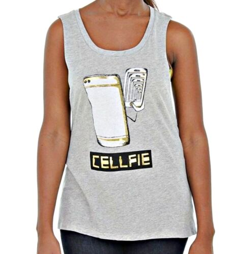 Rebellious One Women/'s Sleeveless CELLFIE Printed Twisted Back Tank Top Grey