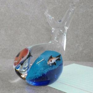 alter-einzigartig-wohl-Murano-Paperweight-Kristall-Briefbeschwerer-Fisch