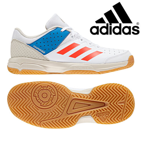 Adidas Junior Court Stabil Tennis Shoes Kids Indoor Sports Gym Trainers B22579