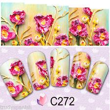 Nail Art Water Decals Wraps Pink Petals Floral Flowers Decoration Gel Polish 272
