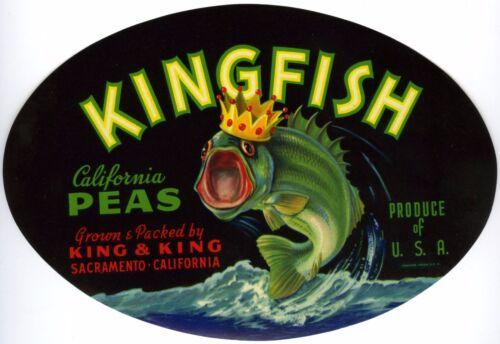 KINGFISH w//LARGEMOUTH BASS~ORIGINAL 1930s SACRAMENTO CALIFORNIA PEAS CRATE LABEL