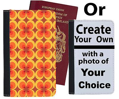 Bello Vintage Arancione E Marrone Fiori Custodia Per Passaporto 60s 50s 70s Stile A Buon Mercato B581-mostra Il Titolo Originale