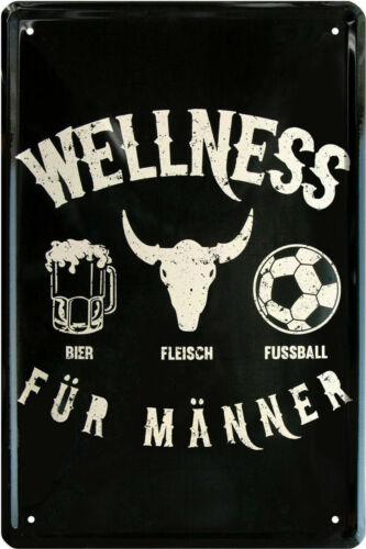 Blechschild 20x30  Wellness für Männer....... Bier..Fleisch...
