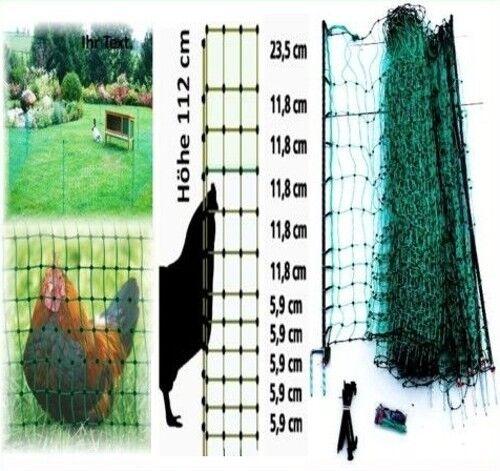 Hundezaun Katzenzaun elektrischer Gartenzaun 15m x 112cm grün Kaninchenzaun