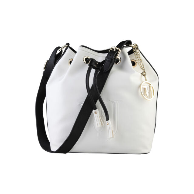 87554f1137d3 Trussardi Womens Bucket Bag Black White 75b559 101 Bianco NERO for ...