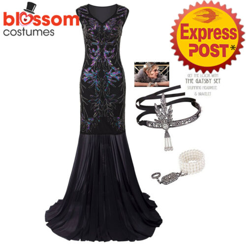 K620 Black Gatsby Abbey Flapper Dress Wedding Evening Party Bridesmaid Costume