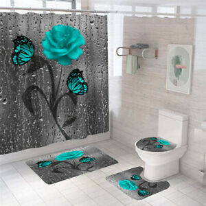 Butterfly Rose Shower Curtain Bathroom Rug Set Thick Bath Mat Toilet Lid Cover