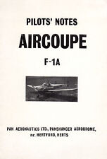 Aircoupe F-1A Pilot Notes Manual Forney F-1 ERCO Ercoupe 415 1960's RARE archive