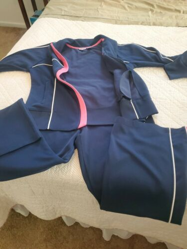 Vintage 90s Izod Movement Navy /Pink Track Suit Gy