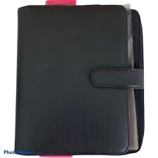 Franklin Covey Black Leather Organizer 7 1 Rings 9 X7 Closed With Zipper Pouch