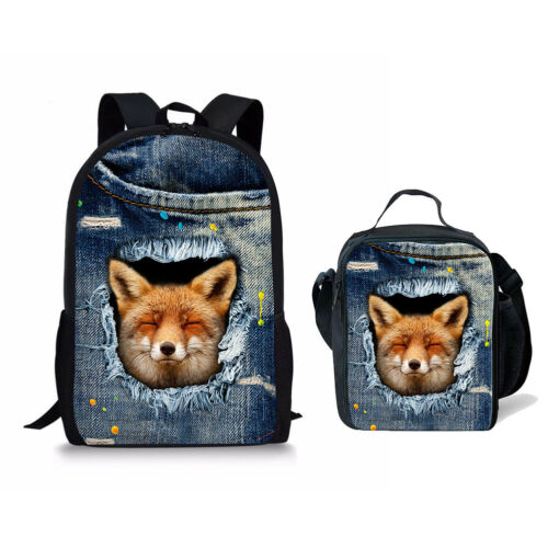 Fox Print School Bag Set 2pcs Backpack Bookbag With Cooler Lunch Bag Storage Bag
