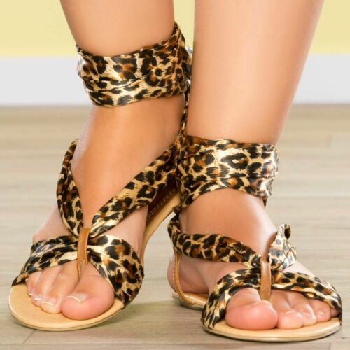 WOMENS LADIES FLAT LACE UP GLADIATOR SANDALS BEACH ANIMAL PRINTS Uk