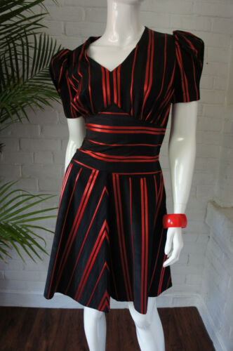 Vintage 1940's PUFF SLEEVE Party Dress Red Satin S