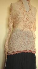 New_Lovely_Boho Peasant Vintage Print Empire Waist Cotton Shirt_S,M,L