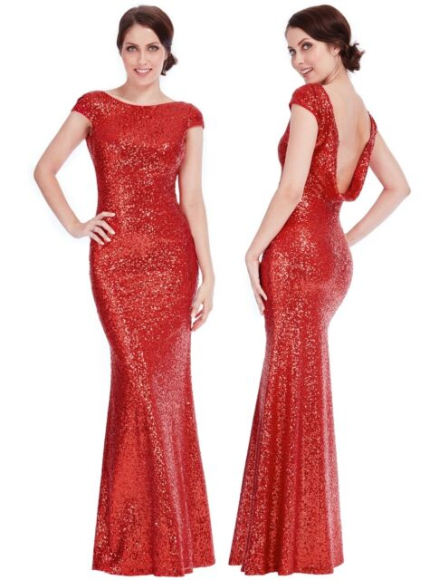 Goddiva Full Length Sequin Open Back Maxi Evening Dress Bridesmaid