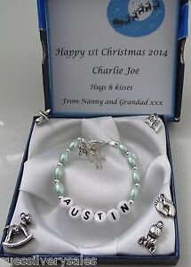 Image Is Loading Baby Boy 1st Birthday Xmas Christening Present Bracelet
