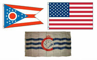 3x5 American & City Of Cincinnati & State Of Ohio Wholesale Set Flag 3'x5'