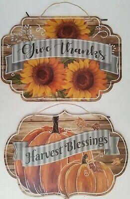 "Autumn Thanksgiving Wall Décor Footballs /& Pumpkins Boards 25""H x 5.5""W"