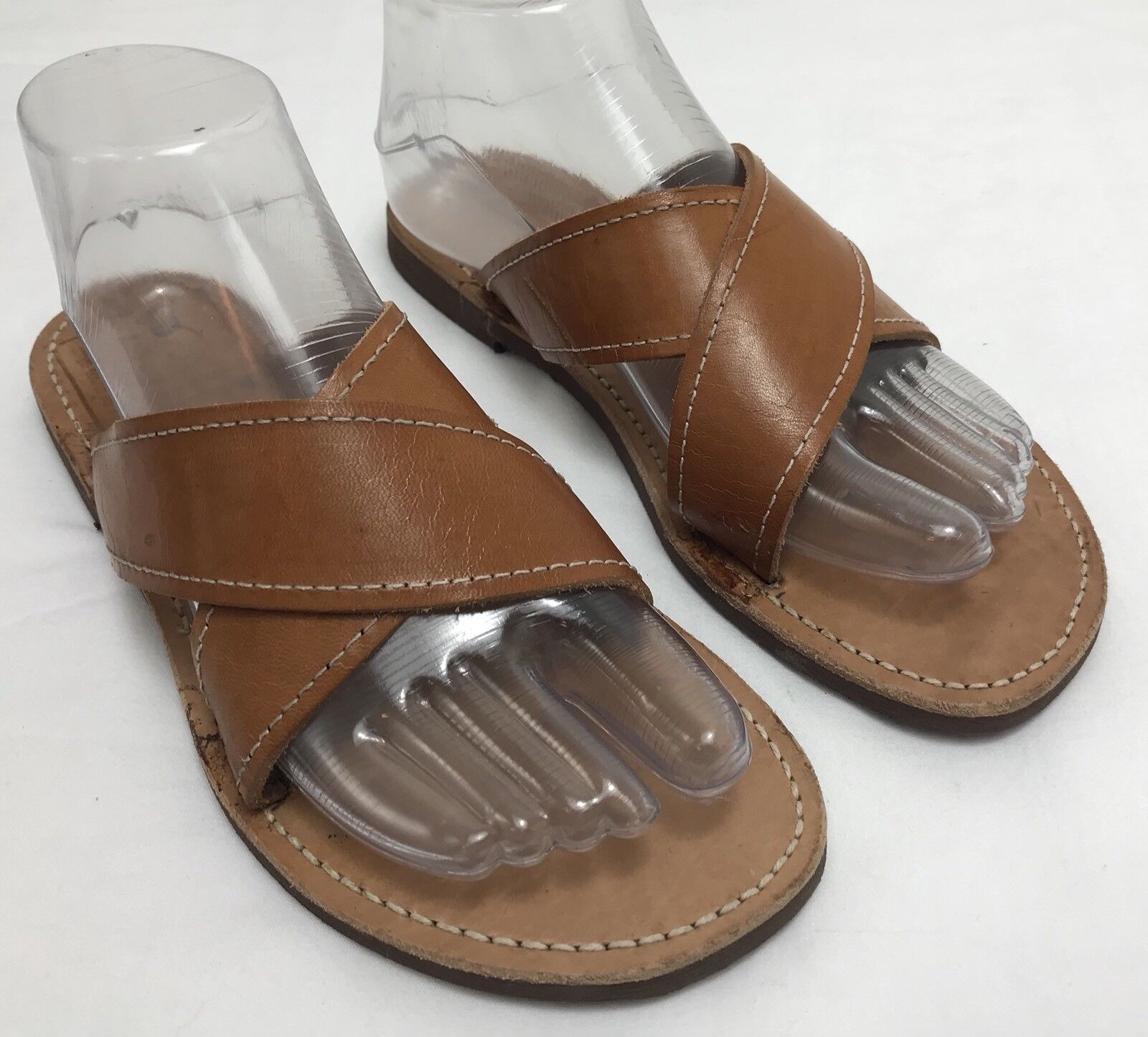 Womens MELISSINOS POET  Diogenes  Brown Leather Slides Sandals SIZE 8 Greece