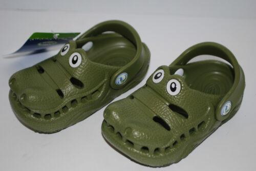 NEW POLLIWALKS GREEN ALLIGATOR GATOR shoes clogs 3D sandals 6 7 8 9 10 kids