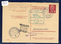 53252) LH FF Las Palmas Spanien - Frankfurt 1.12.63, DDR GA-AK postal stat.card