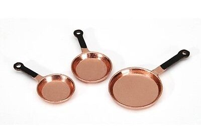 Dollhouse Miniature Copper Frying Pan Set for the Kitchen ~ G8186