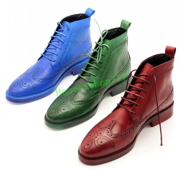 Mens Genuine Leather Nightclub Wing tip British Brogue Shoes Lace Up Ankle Boots