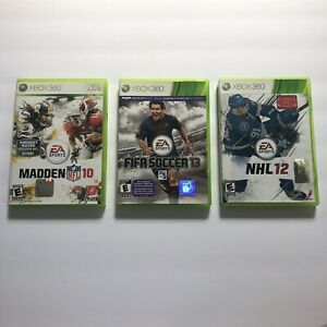 Xbox 360 Sports Game Lot of 3 FIFA Soccer 13, Madden 10, NHL 12 Free Ship!